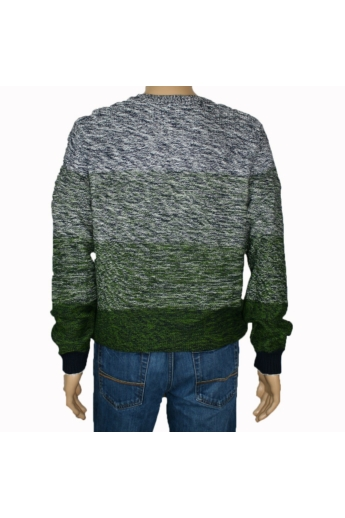 TOM TAILOR férfi vastag kötött pulóver, szürke és zöld színvilággal, 3023070.00.10 modell