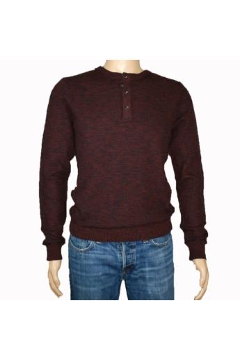 TOM TAILOR férfi vastag kötött pulóver, sötét bordó színvilággal, 3023146.25.10 modell