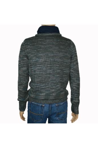 TOM TAILOR férfi vastag kötött pulóver, khaki márványos színvilággal, 3023222.00.10 modell