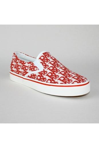 ESTER női kényelmi cipő slip-one- piros mintás