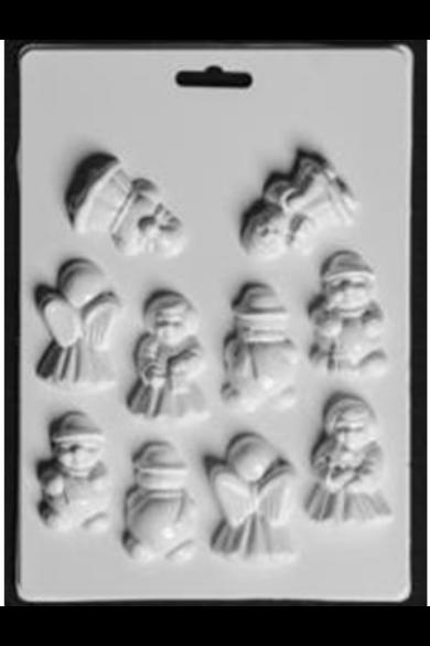 Öntőforma - 3D Karácsonyi figurák 10 db-os