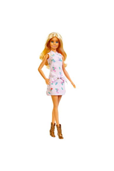 Barbie Fashionista Szőke hajú Barbie rózsaszín ruhában