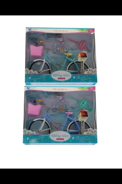 Bicikli babához, elemes(gombelem benne), világít, elöl kosár, +bukósisak, kiegészítőkkel, 2 szín, 31x25 cm dobozban