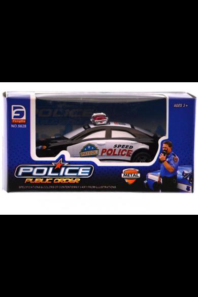 Fém lemez autó, SOS, 3-féle: rendőr vagy tűzoltó, 10 cm, 14x7 cm dobozban