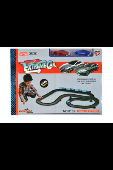 Autópálya, 2 darab autóval(az autókba 2x2xAA elem szükséges, így mennek körbe a pályán), elemes, 88x106 cm pálya, 50x36 cm dobozban