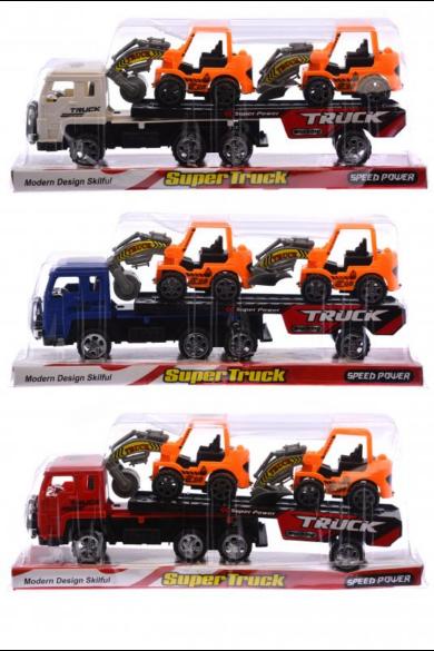 Autószállító, + 2 darab munkagép rajta 10 cm, 3 szín: kék, piros, fehér, 29x11 cm platformos csomagolásban