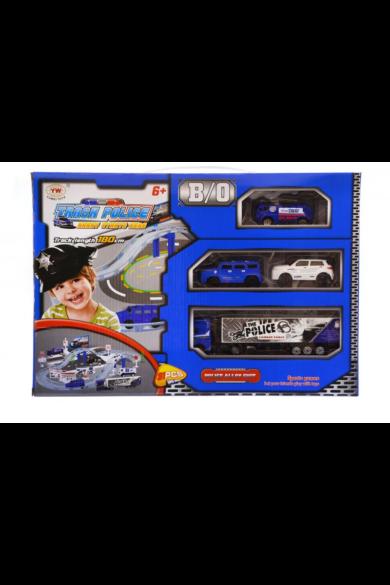 Autópálya, 4 darab autóval, rendőrségi, elemes(1xAA autóba), kiegészítőkkel, 40x28 cm dobozban