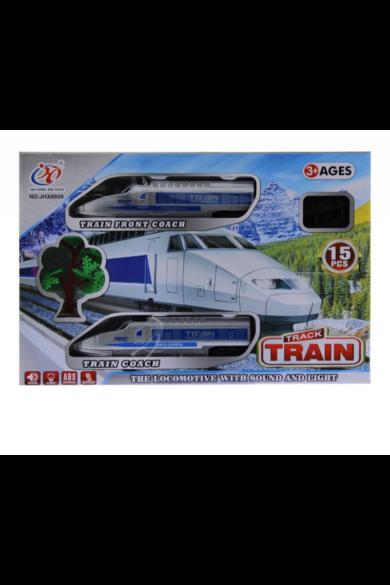 Vonat készlet, IC, elemes(3xAA), 70 cm pályával, 15 darabos készlet, 36x25 cm dobozban