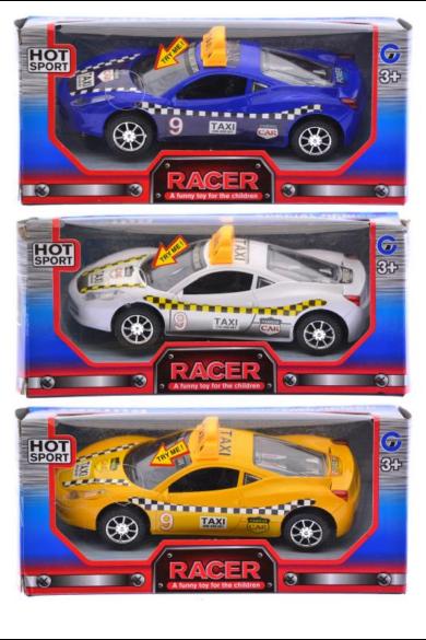 Autó, Taxi, elemes(3 gombelem benne), hangot ad és világít, 3 szín: citromsárga, fehér, kék, 20x9 cm dobozban