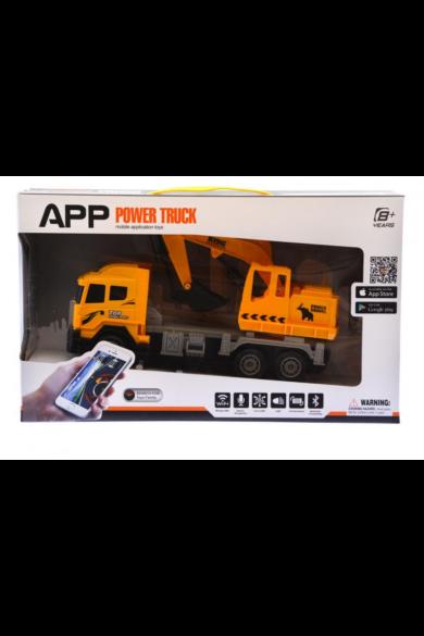 Teherautó, mobilról irányítós, töltővel(+elemmel: 4xAA), full funkciós(minden irányba megy), világít, wifi, bluetooth, telefonról irányítható fukciók, 40x24 cm dobozban