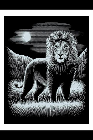 Mammut Ezüst képkarcoló Oroszlán (20x25,5 cm) Medium