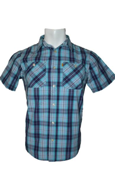 Eredeti CATERPILLAR kockás rövid ujjú férfi ing, kellemes kék színvilággal, pamut anyag-összetételű, SLIM FIT fazonú, M méretbenÁllapota: újszerű Váll:41 cmMell:51 cmHossz: 72 cmUjjhossz: 22 cm