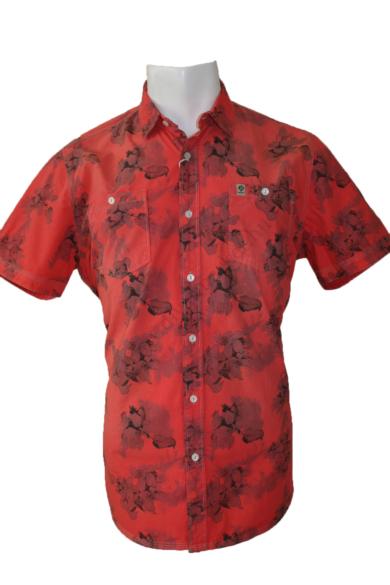 Eredeti GIN TONIC mintás rövid ujjú férfi ing, kellemes piros színvilággal, pamut anyag-összetételű, XL méretbenÁllapota:új és címkés Váll:45 cmMell:59 cmHossz: 80 cmUjjhossz: 24 cm