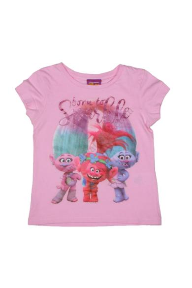 Eredeti TROLLS kislány kerek nyakú rövid ujjú póló, rózsaszín színben, 98/104 3-4 éves méretben Állapota: újszerű Váll szélesség: 26 cm Mell szélesség: 30 cm Hossz: 38 cm