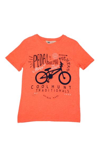 Eredeti H&M kerek nyakú biciklis rövid ujjú póló, neon színben, 122/128 6-8 éves méretben Állapota: újszerű Váll szélesség: 31 cm Mell szélesség: 35 cm Hossz: 52 cm