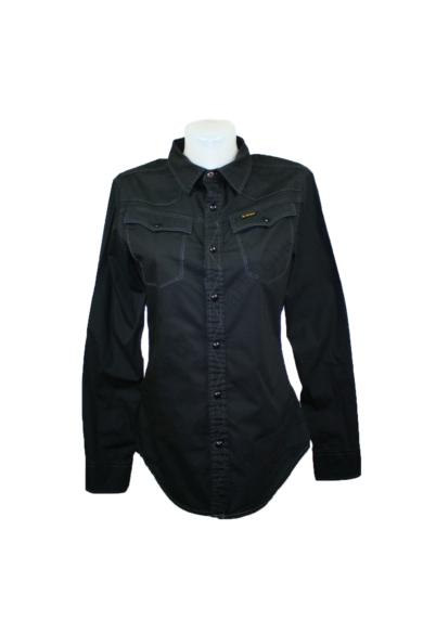 G-STAR RAW női hosszú ujjú ing, kellemes fekete színben, 98 % pamut, 2 %elasztán anyagösszetételű, rugalmas anyagú, patentos, M méretben Állapota: újszerű Mért adatok: Váll szélesség: 38 cm Mell szélesség: 48 cm Hossz: 68 cm Ujjhossz: 64 cm