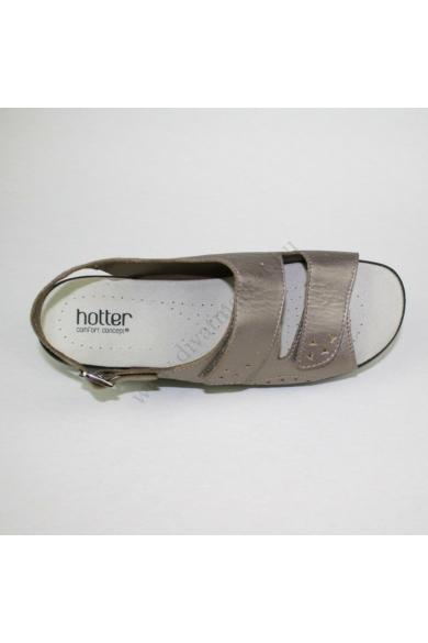 Eredeti HOTTER női bőr kényelmi szandál, kellemes ezüst színben, EASY modell,kívül-belül bőr anyagú, extra puha kivehető talpbéléssel, sarok részen lévő pántja csatos, a lábfej részen lévő pántok tépőzárasok, uk7 41 méretbenÁllapota: újszerűBelső talphoss