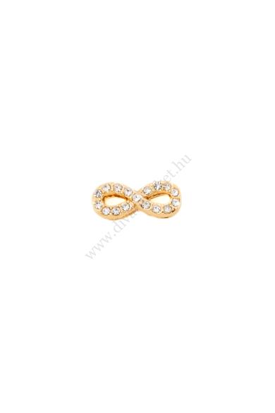 PARIS infinite (végtelen) charm karkötő kiegészítő cirkónia kristály berakásos,flexibilis karkötőhöz Színe: arany Anyaga: ötvözet Építs flexibilis karkötőt az általad választott charmokkal!