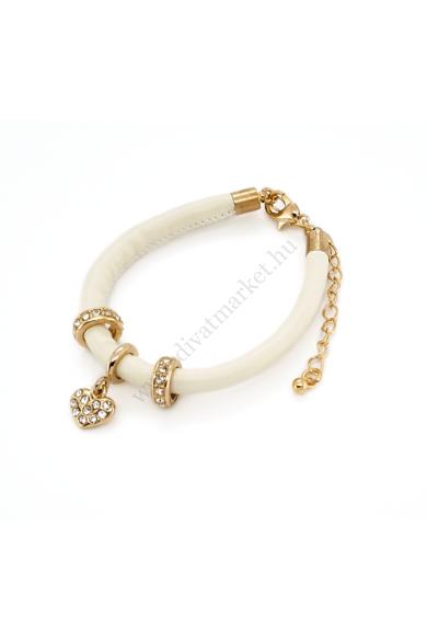BONNE charm karkötő letisztult formavilágú, gyöngyházfényű fehér műbőr alapú, arany színű csillogú charmok díszítik.