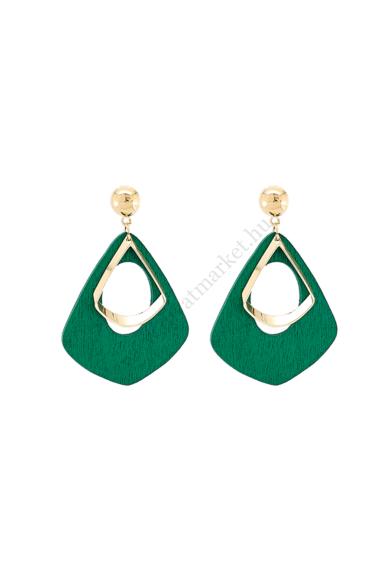 KÖLN női geometrikus fülbevaló geometrikus vízcsepp alakú, stekker zárral berakható fülbevaló. Az esőerdő növényzetének mély zöld színét idéző fa alapanyagú fülbevaló. Hossza: 5.5 cm Színe: arany, greenery zöld Anyaga: ötvözet, fa