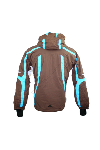 Eredeti DARE 2b női sportos téli (sí) kabát, kellemes barna, kék színben, víz és szélálló anyagösszetelű, polár jellegű rugalmas anyaggal bélelt, dereka a belső részen patenttal összecsatolható és ujjai vége tépőzáras, kapucnija levehető, cipzáras és tépő