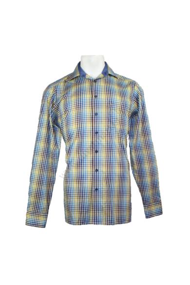 Eredeti MARVELIS férfi hosszú ujjú ing, kellemes több színű színben, 100% pamut anyagösszetételű,vasalásmentes, modern fit fazonú, kockás mintázatú, beleírt méret: 15 3/4