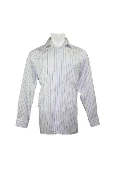 Eredeti OLYMP TENDENZ férfi hosszú ujjú ing, kellemes drapp, barna színben, 100% pamut anyagösszetételű,vasalásmentes, csíkos mintázatú, beleírt méret:17