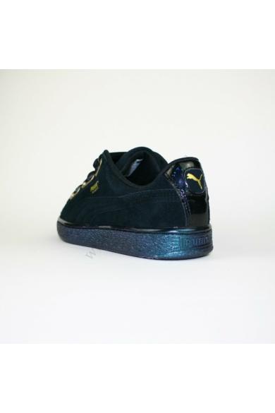 Eredeti PUMA SUEDE női bőr(velúr) sportcipő, kellemes fekete színben, ART 36271403 modell, selyem szalag fűzővel, a cipő oldal része gyöngyházfényű csillogással díszített, uk6.5 40 méretben Állapota: új és címke nélküli Belső talphossz: 25.5 cm Sarokmagas