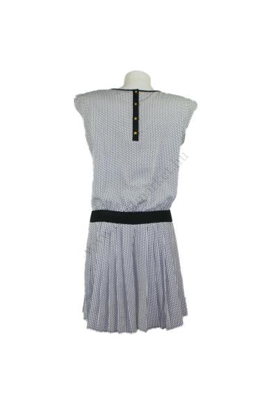 Eredeti WAREHOUSE női ruha, kellemes fekete, fehér színben, ujjatlan,100 % poliester anyagösszetételű,rakott szoknya része rejtett