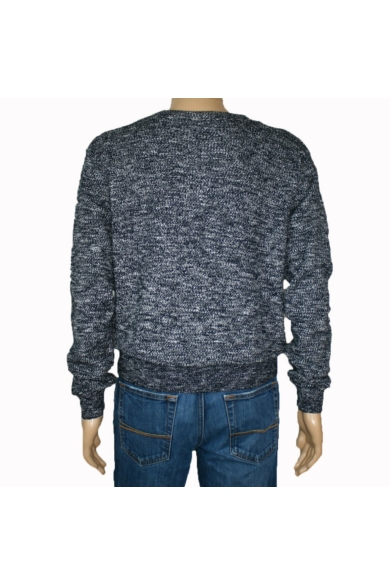 TOM TAILOR férfi vastag kötött pulóver, fekete márványos színvilággal, 3023146.25.10 modell