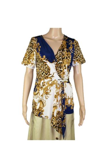 SISTERS POINT női felső/blúz, kellemes krém, sötétkék, leopárd színvilággal, LOPS-2.SL modell
