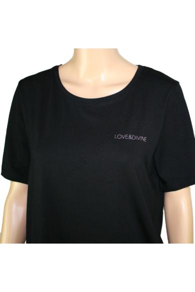 LOVE&DIVINE női póló, kellemes fekete színvilággal, LOVE-TEE(1) modell,