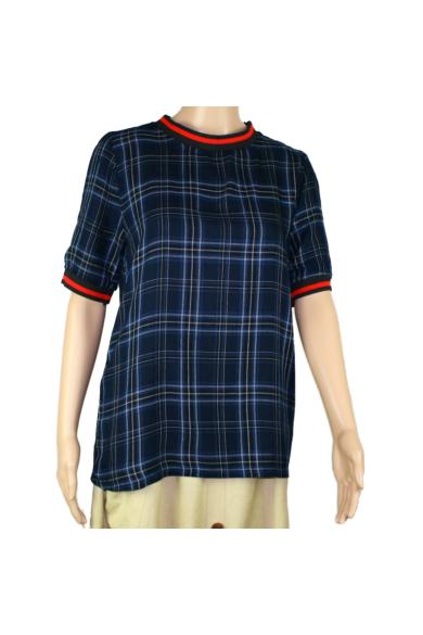 SISTERS POINT női felső/póló, kellemes sötétkék kockás színvilággal, VEZZI-SS2 modell