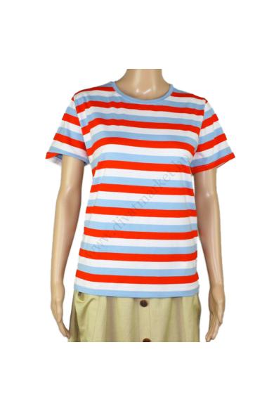 SISTERS POINT női póló, kellemes kék, piros, fehér csíkos színvilággal, HERM-SS30 modell