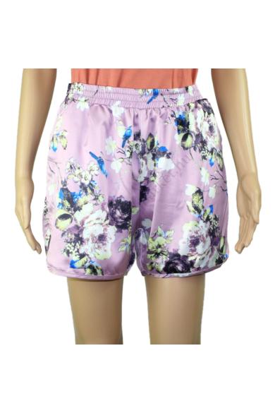 SISTERS POINT női rövidnadrág, kellemes lila virágos színvilággal, VENKE-SHO modell