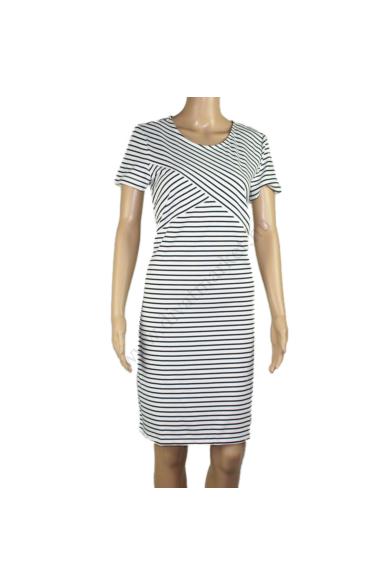 VERO MODA női ruha, kellemes fehér fekete csíkos színvilággal, 10211525 modell