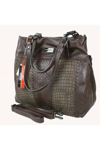 PIERRE CARDIN női nagy méretű táska sötétbarna színben 91693 IZA207 modell