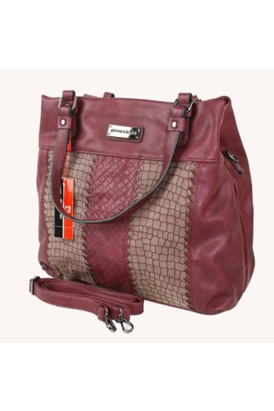 PIERRE CARDIN női nagy méretű táska bordó színben 91693 IZA207 modell
