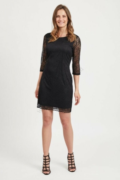 VILA CLOTHES női elegáns ruha, kellemes fekete színvilággal, 14052293 modell