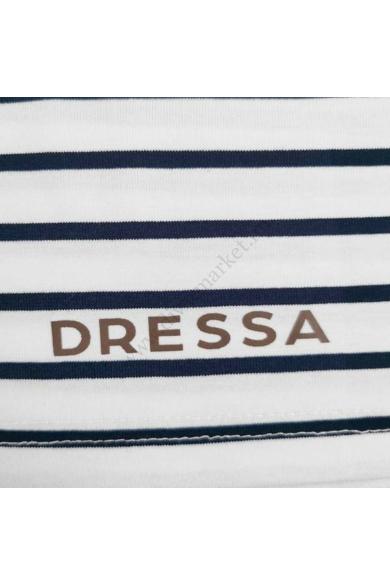 Dressa felgombolható ujjú csíkos női gombos póló - fehér