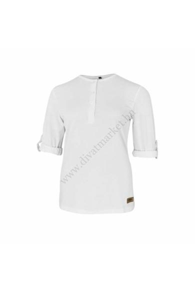 Dressa felgombolható ujjú női gombos póló - fehér