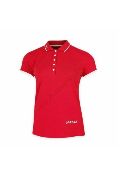 Dressa galléros rövid ujjú pamut női piké póló - piros