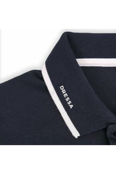Dressa galléros rövid ujjú pamut női piké póló - sötétkék