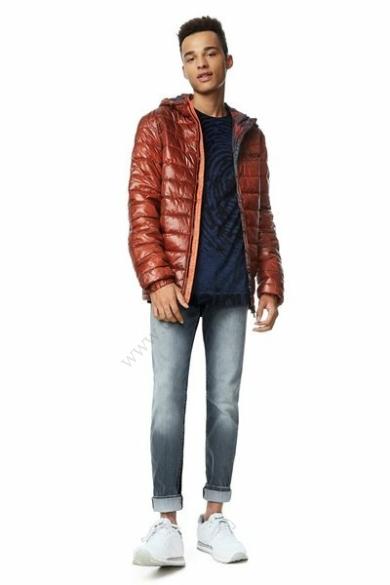 DESIGUAL férfi átmeneti kabát/dzseki, téglavörös színben, CHAQ_AUGUST 17WMEW28/3074 modell