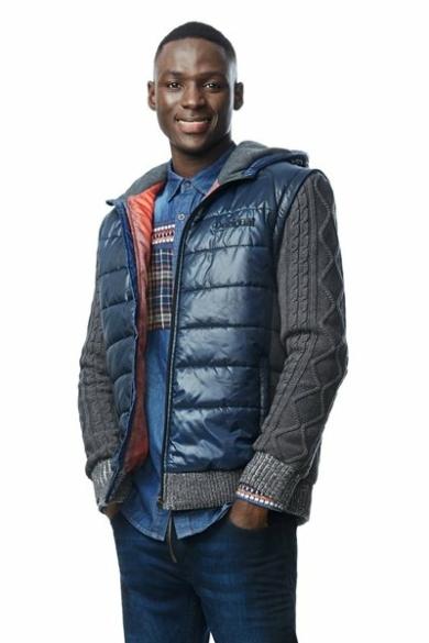 DESIGUAL férfi átmeneti dzseki, mellény, sötétkék, szürke színben, CHAQ ARTHUR 17WMEW20 modell