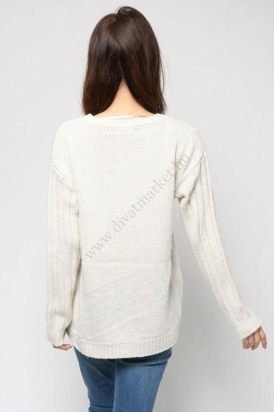 DESIGUAL női kötött pulóver, krém színben, JERS_MAILA modell