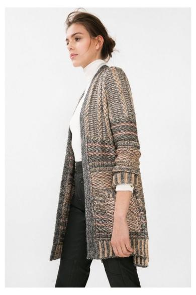 DESIGUAL női kötött hosszított fazonú kardigán, többszínű színben, JERS_ARIADNA modell