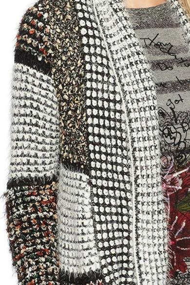 DESIGUAL női kötött hosszított fazonú kardigán, többszínű színben, JERS_ALBA REP modell