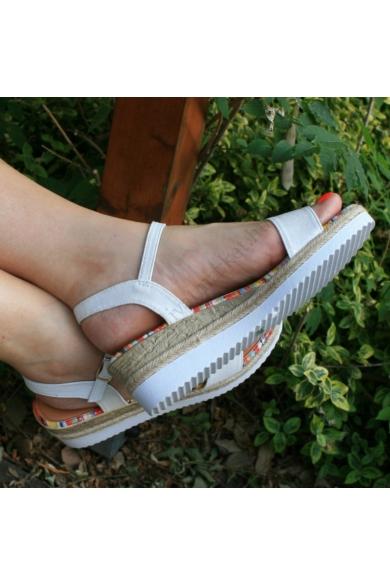 MAJA női ék (teli) talpú szandál - fehér (36-41) Yes Mile