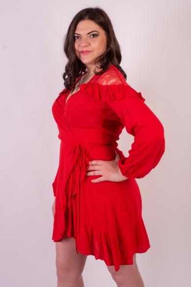 SISTERS POINT hosszú ujjú átlapolható piros női ruha (több méretben)